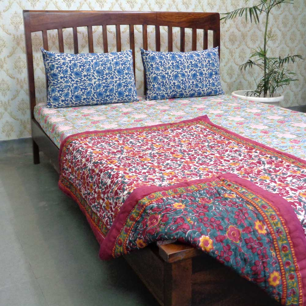 Baby Quilt for Toddler, Hand Block Printed | Phulwari 0973