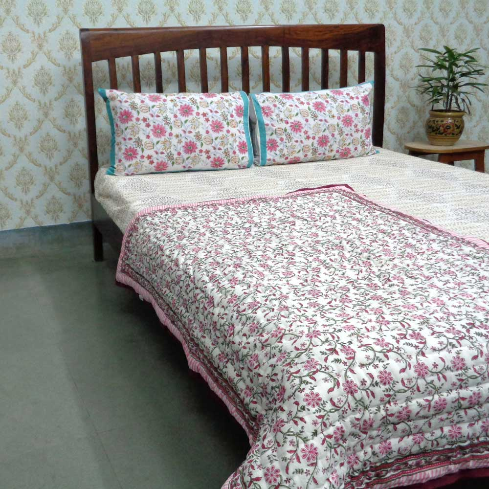 Baby Quilt for Toddler, Hand Block Printed | Ragini Pink 104383