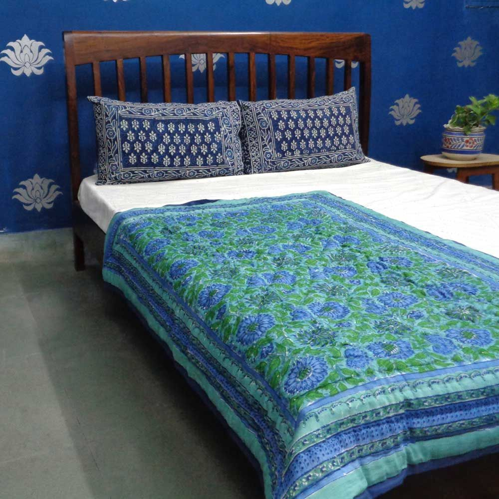Baby Quilt for Toddler, Hand Block Printed | Surajmukhi Blue 0988