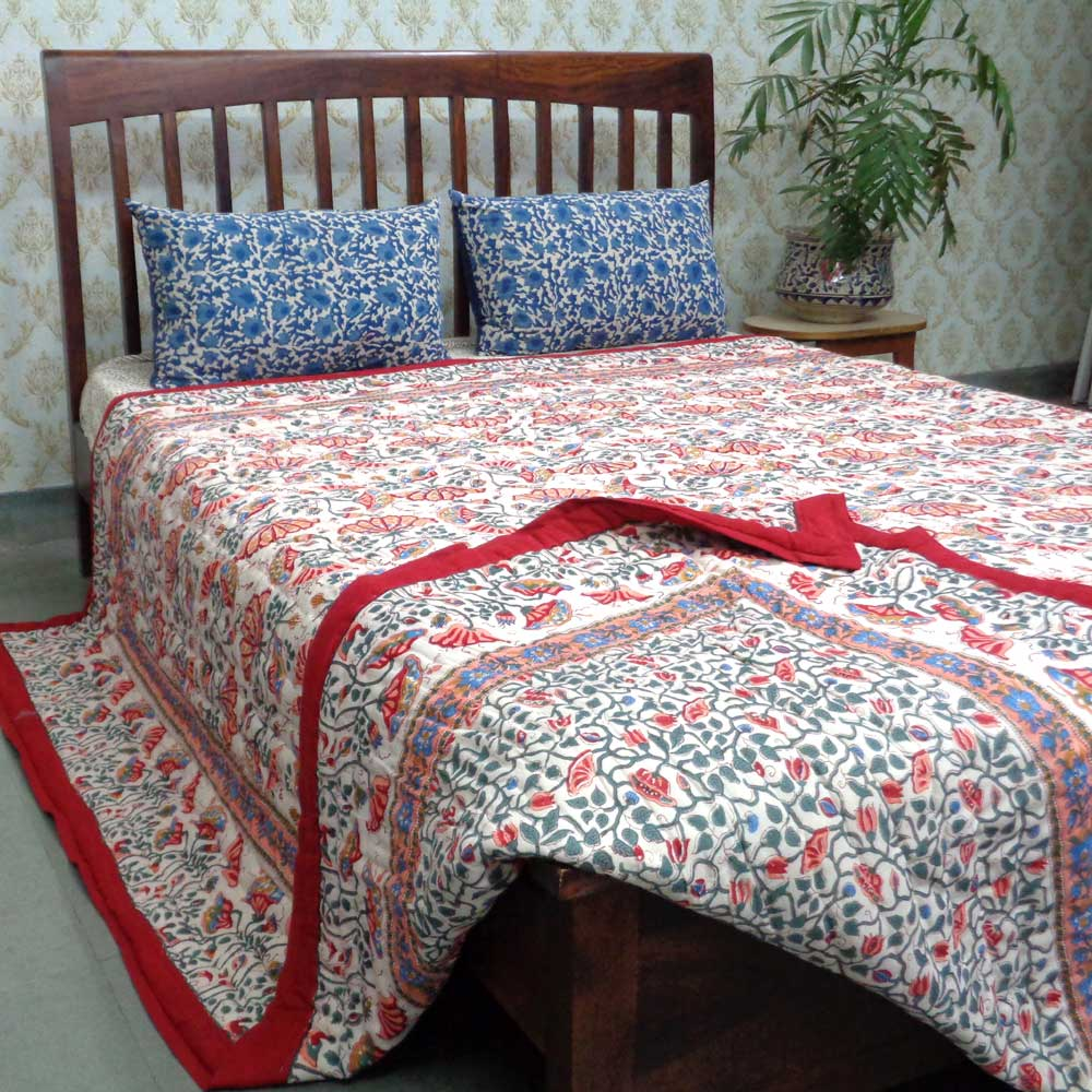 Cotton Quilt King Size | Waterlily Red 100074