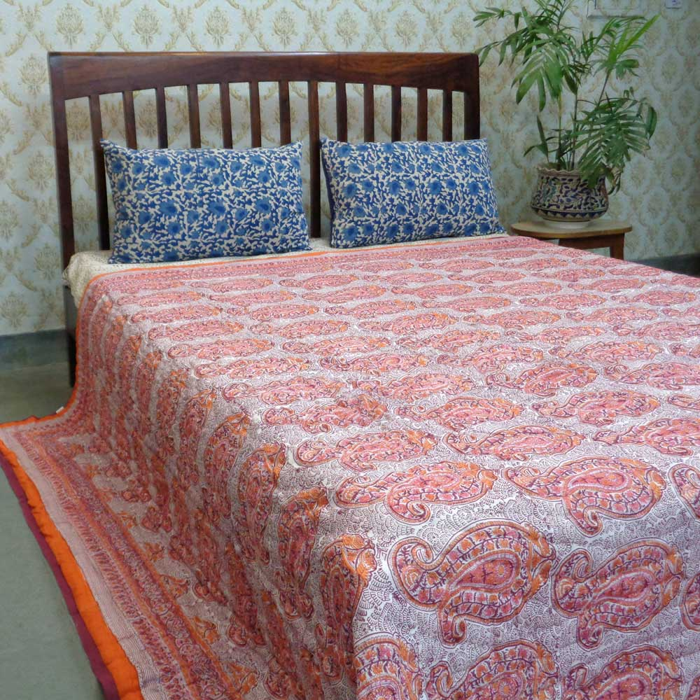Cotton Quilt King Size big paisley pink 103011