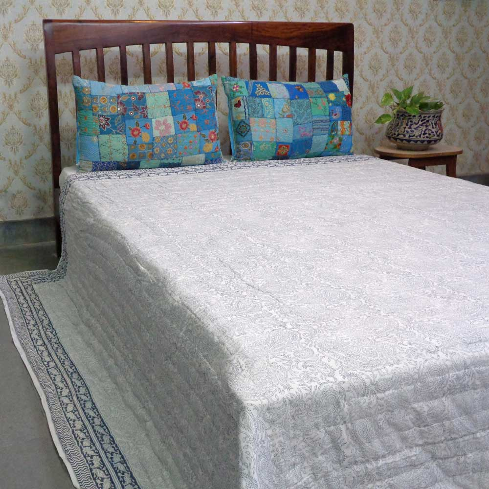 Hand Block Printed Cotton Quilt King Size | Ambi Neel 102665