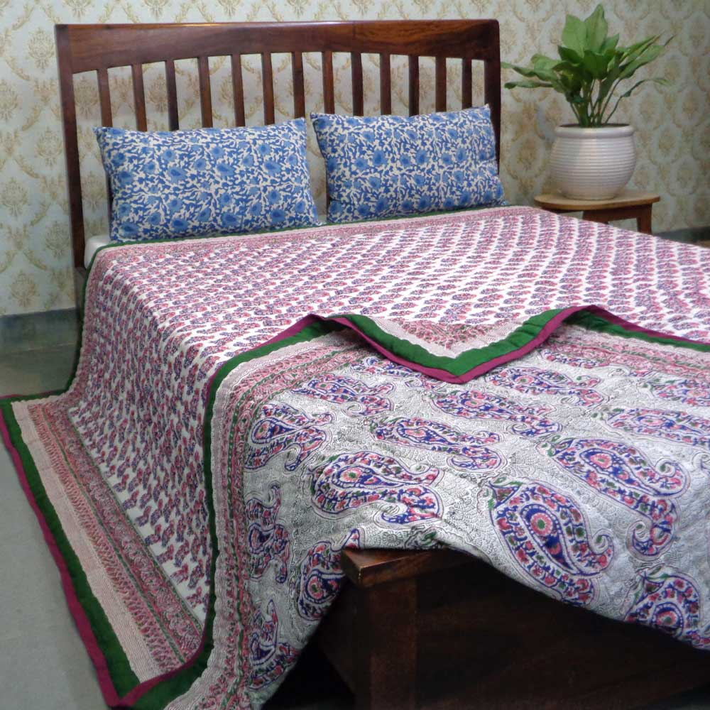 Hand Block Printed Cotton King Size Quilt | Big Paisley Multi 104170