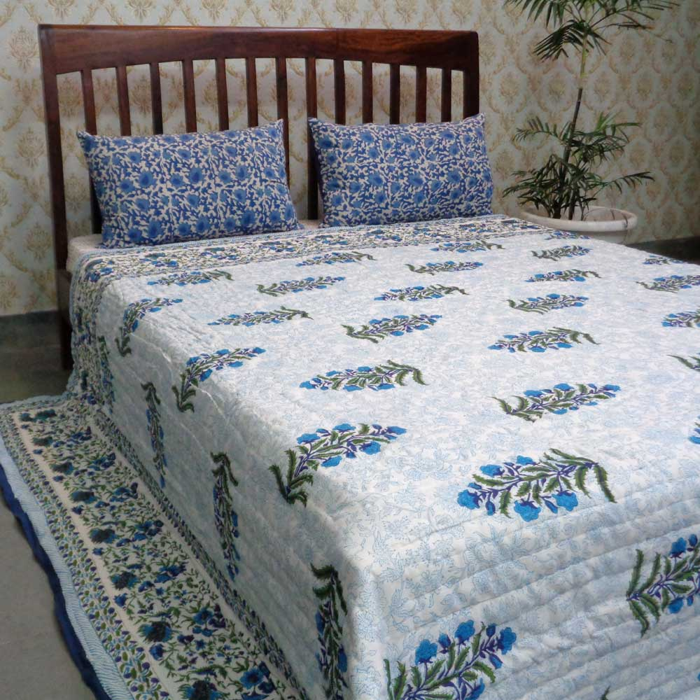 Hand Block Printed Cotton King Quilt | Blue Aster 106789