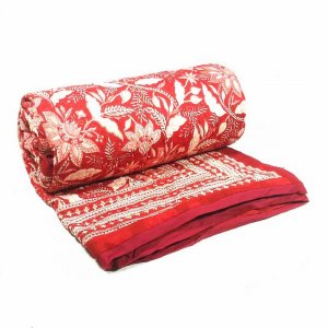 Bossanova Red 7890 Hand Block Printed KING SIZE QUILT