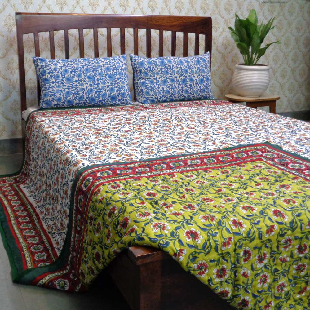 Hand Block Printed Cotton King Size Quilt | Chakri Green 101499