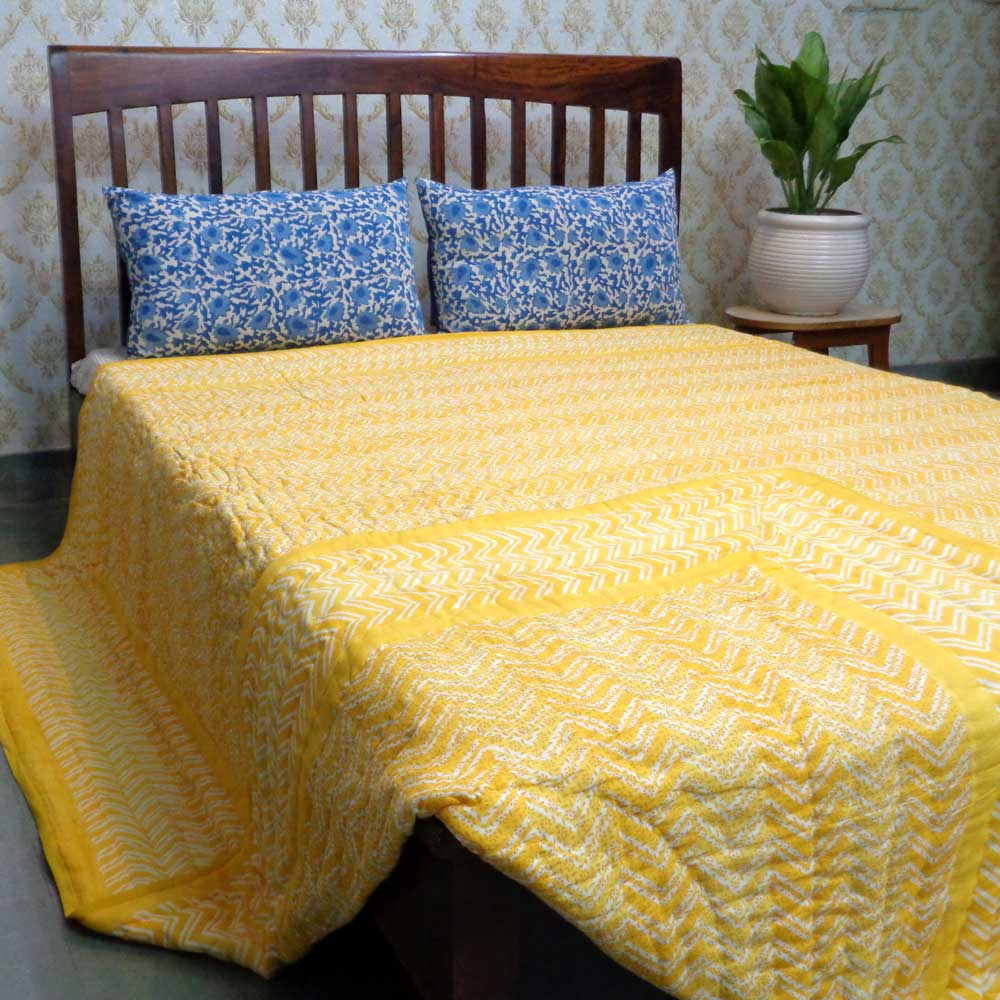 Hand Block Printed Cotton King Size Quilt | Chevron Lime 101520
