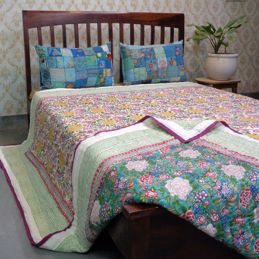 Hand Block Printed Cotton King Size Quilt | Floral Canvas Jade 102233