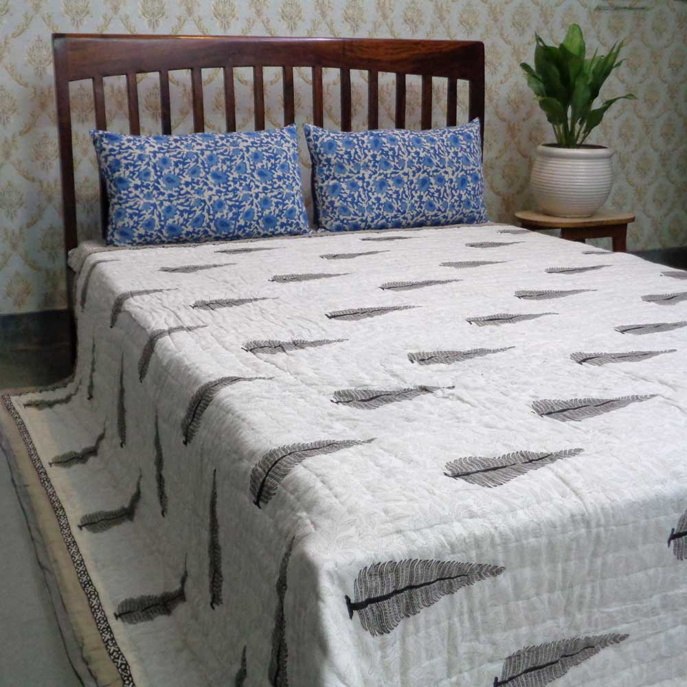 Hand Block Printed Cotton Quilt King Size | Passion Flower 100389