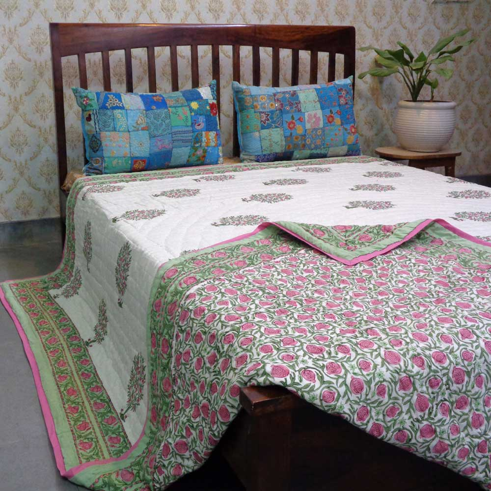 Hand Block Printed Cotton King Size Quilt | Poppy Flower 102252