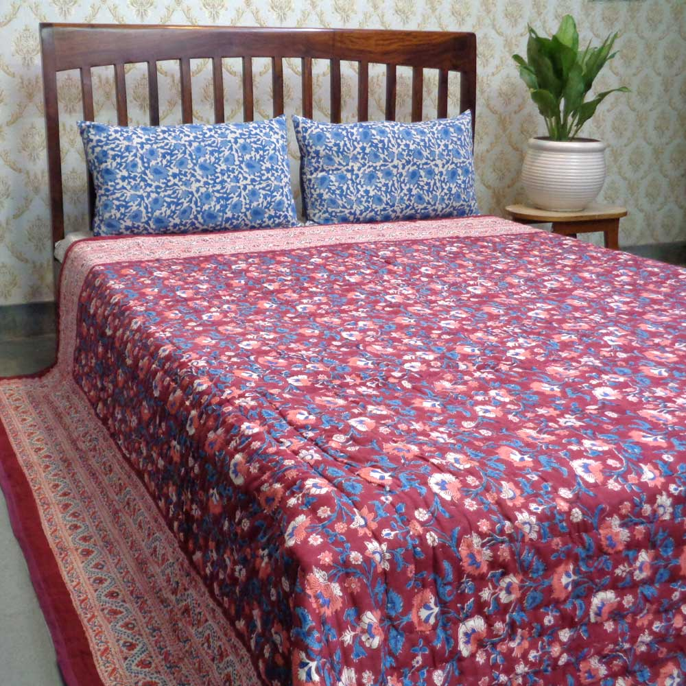 Hand Block Printed Cotton King Size Quilt | Rukhsana Maroon 101509