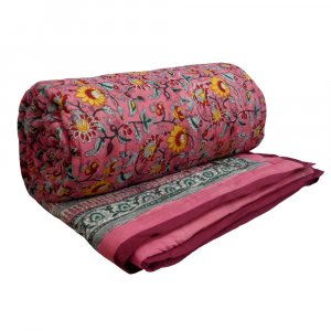 Phuljhari Pink  Hand Block Printed Queen Size Quilt