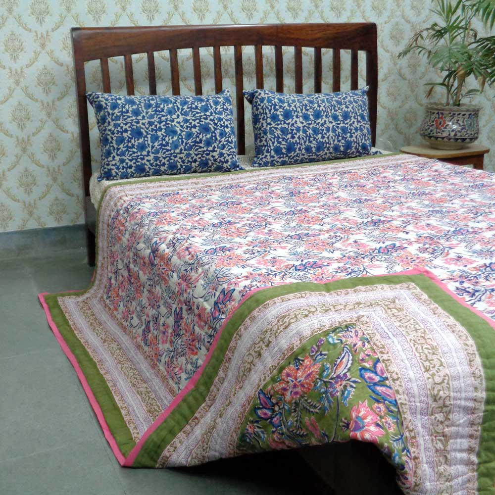 Hand Block Printed Queen Size Quilt | Misty Olive Pink 01373