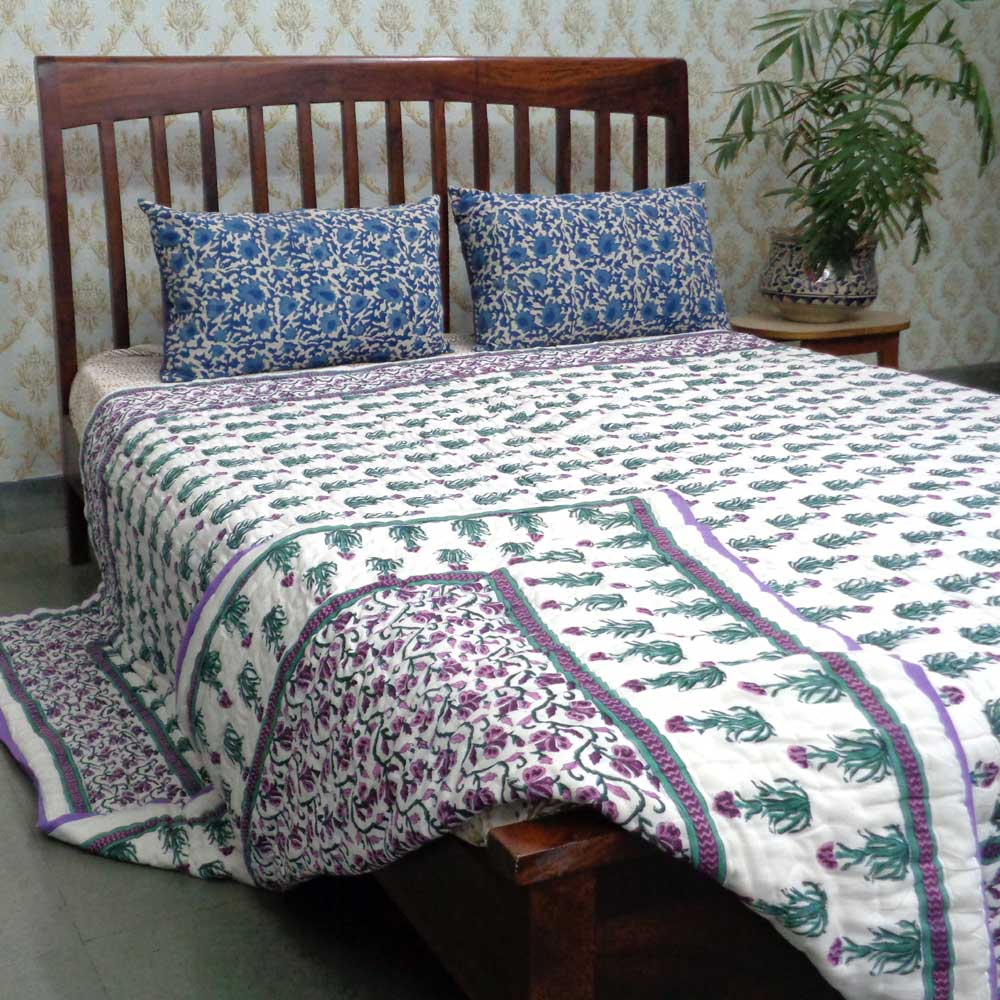Queen Size Soft Cotton Quilt Handmade | Violet Creeper 100385