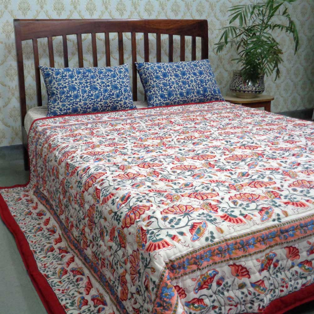 Queen Size Soft Cotton Quilt Handmade | Waterlily Red 100407