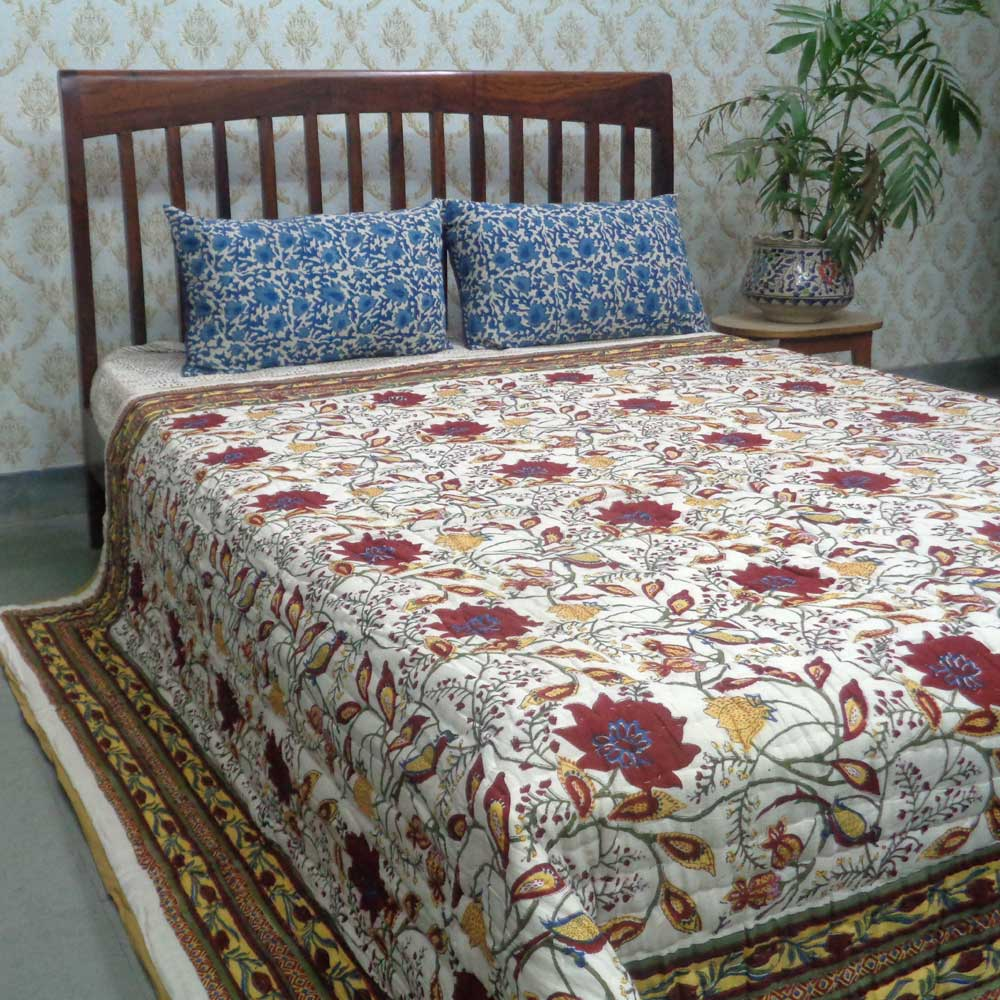 Queen Size Soft Cotton Quilt Handmade | Flower Bird Vanilla 100572