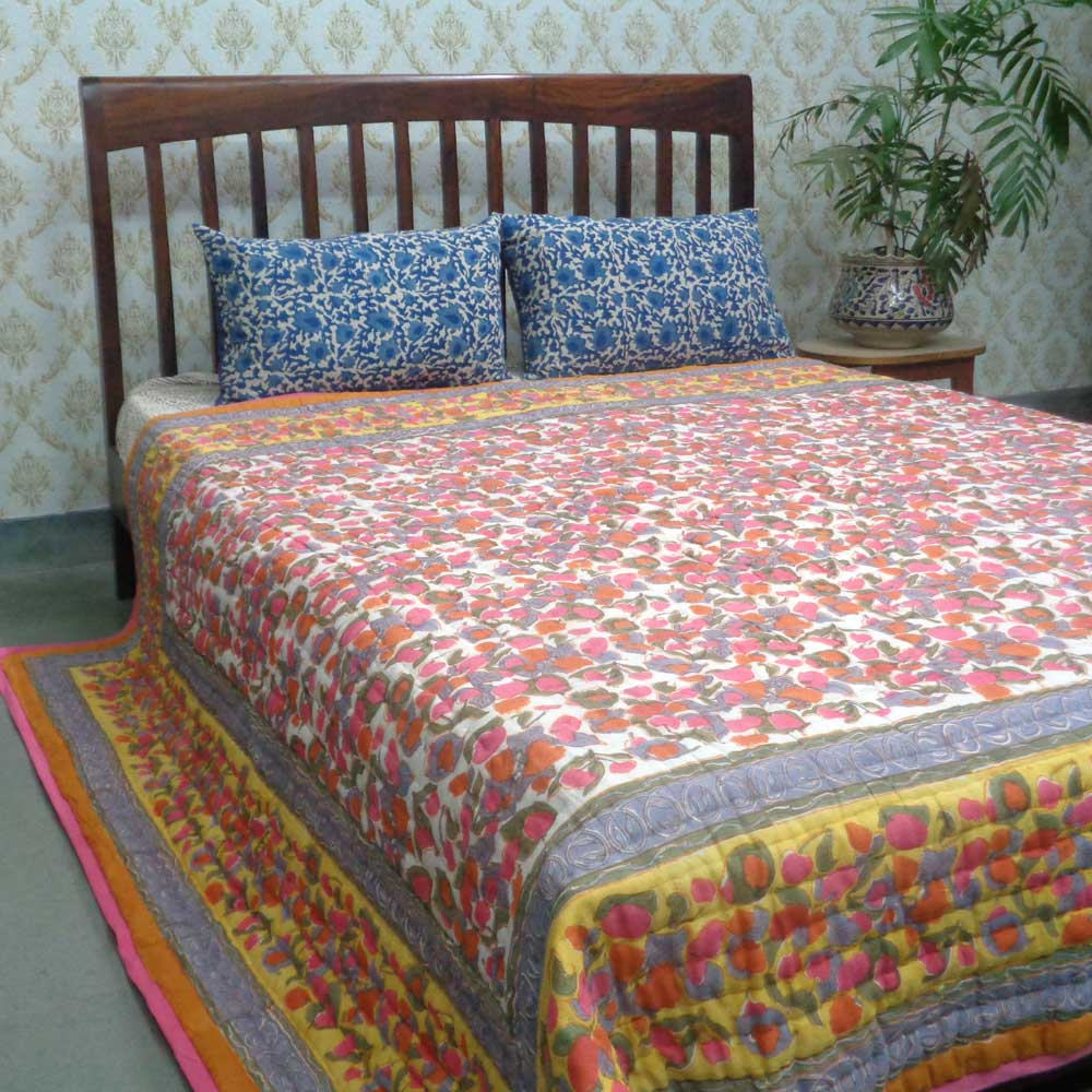 Queen Size Soft Cotton Quilt Handmade | Wet Leaves 100576