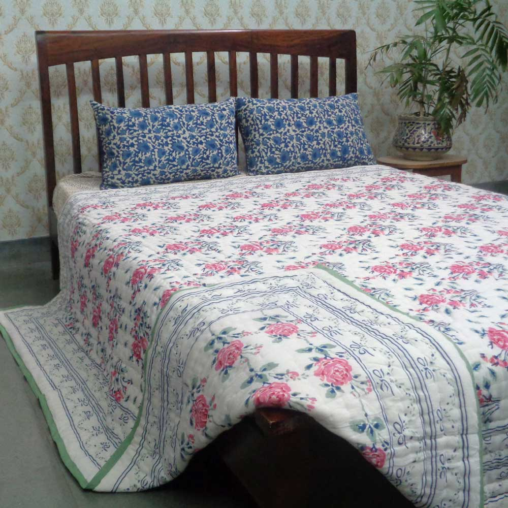 Hand Block Printed Cotton Queen Size Quilt | Roseline Pink 100587