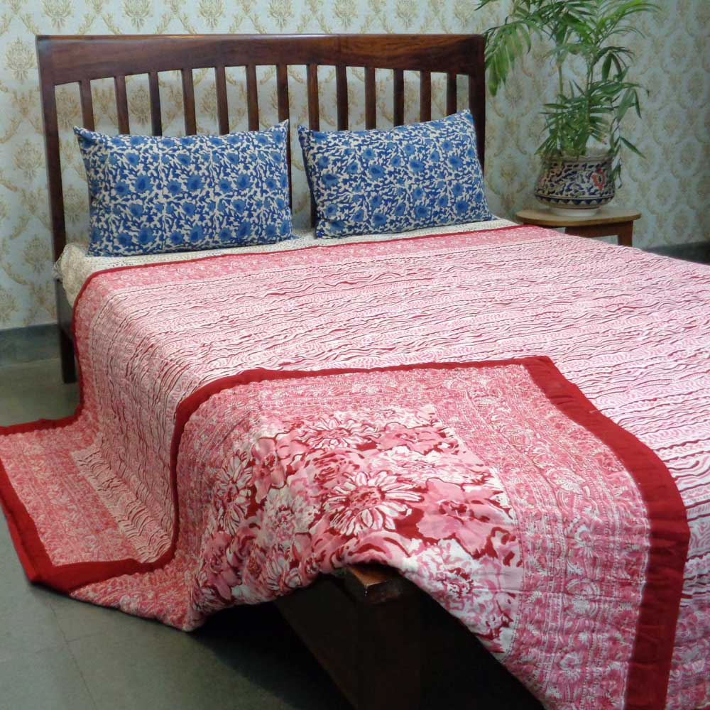 Queen Size Soft Cotton Bed Quilt Handmade | Blossom Red 101984