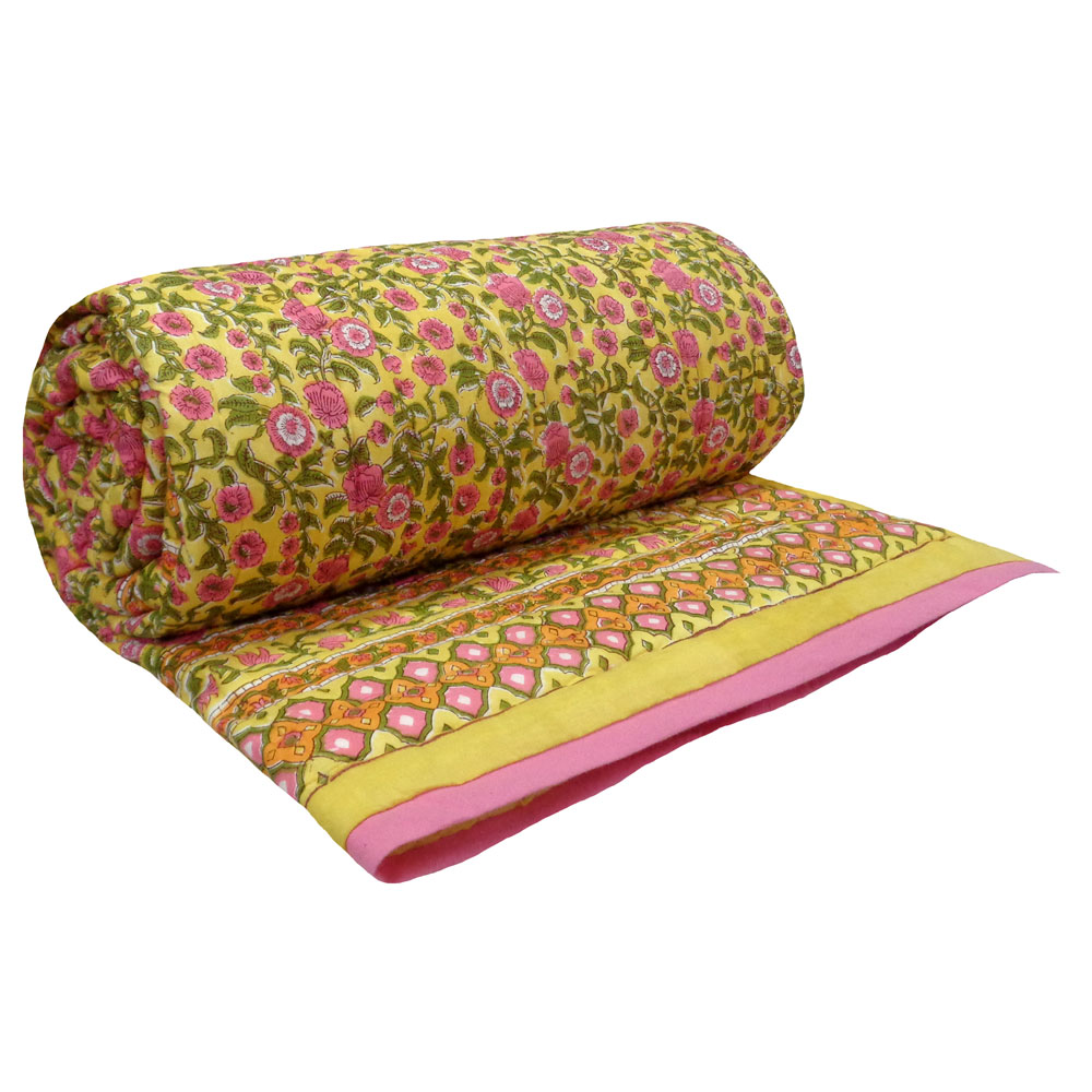 Queen Size Soft Cotton Quilt Handmade | Bhare Pile Phool 102376