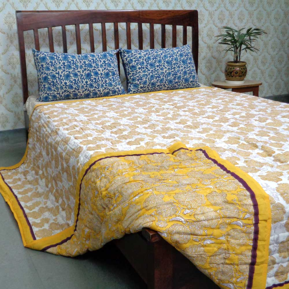 Queen Size Soft Cotton Quilt Handmade | Pila Phool 104994