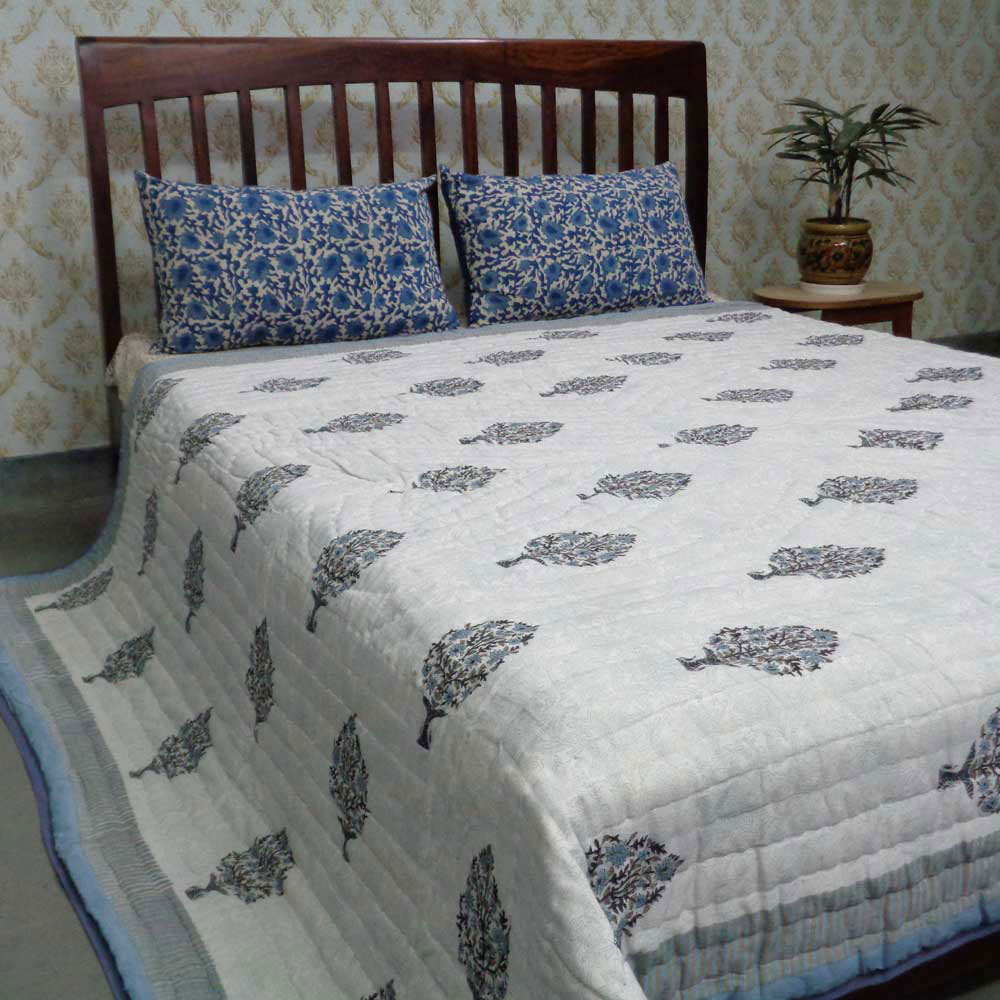 Queen Size Soft Cotton Quilt Handmade | Madhubala Grey 105187