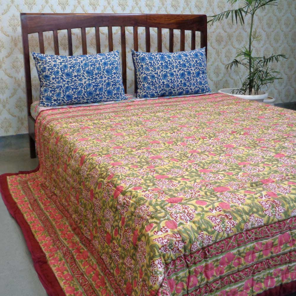 Queen Size Soft Cotton Quilt Handmade | Daffodils Lime 105884