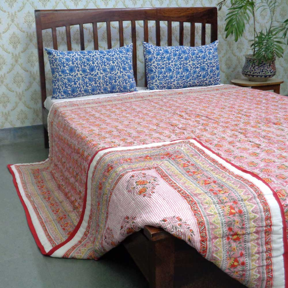Hand Block Printed Cotton Queen Size Quilt | Frost Pink Floral 107630