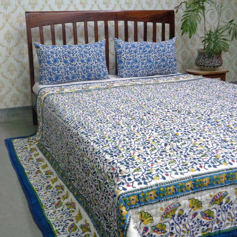 Hand Block Printed Cotton Queen Size Quilt | Waterlily Multi 107632