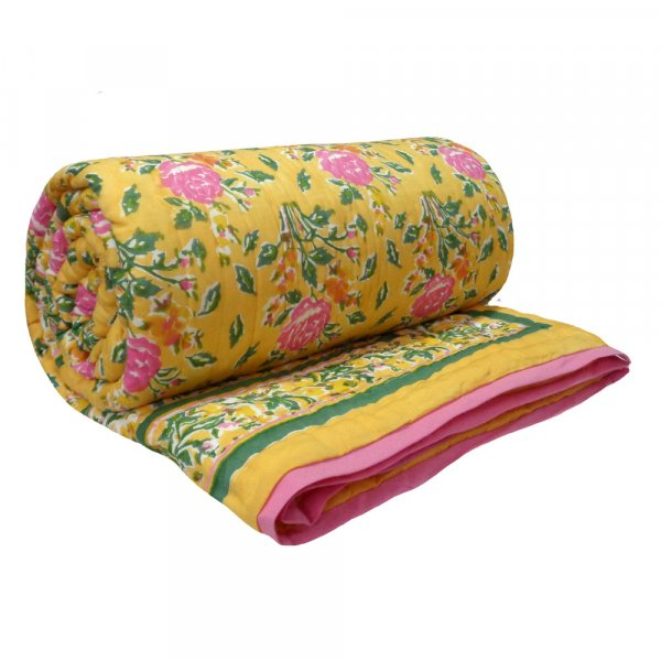 Hand Block Printed Cotton Queen Size Quilt | Roseline Yellow 107639