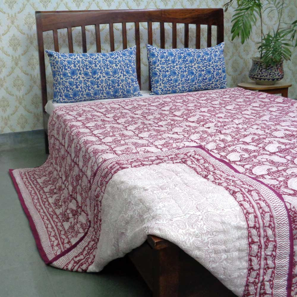 Hand Block Printed Cotton Queen Size Quilt | Ambi Lal 107644