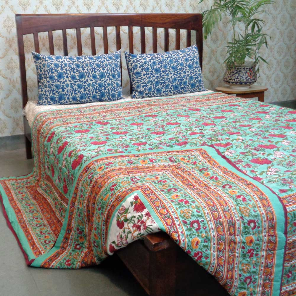 Handmade Block Printed Cotton Queen Quilt | Flower Blossom Jade 1666