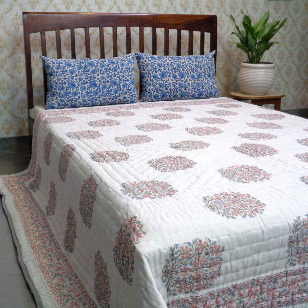 Hand Block Printed Cotton Queen Size Quilt | Berry Pink 101681