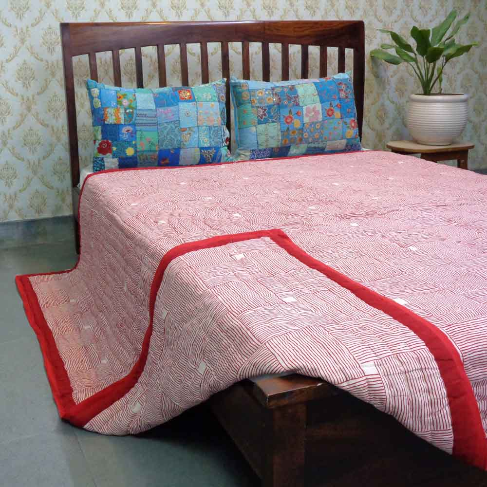 Hand Block Printed Cotton Queen Size Quilt | Chokor Patti Lal 101630