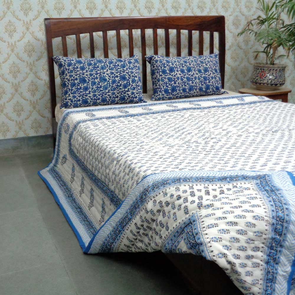Hand Block Printed Cotton Queen Quilt | Choti Nili Booti 0596
