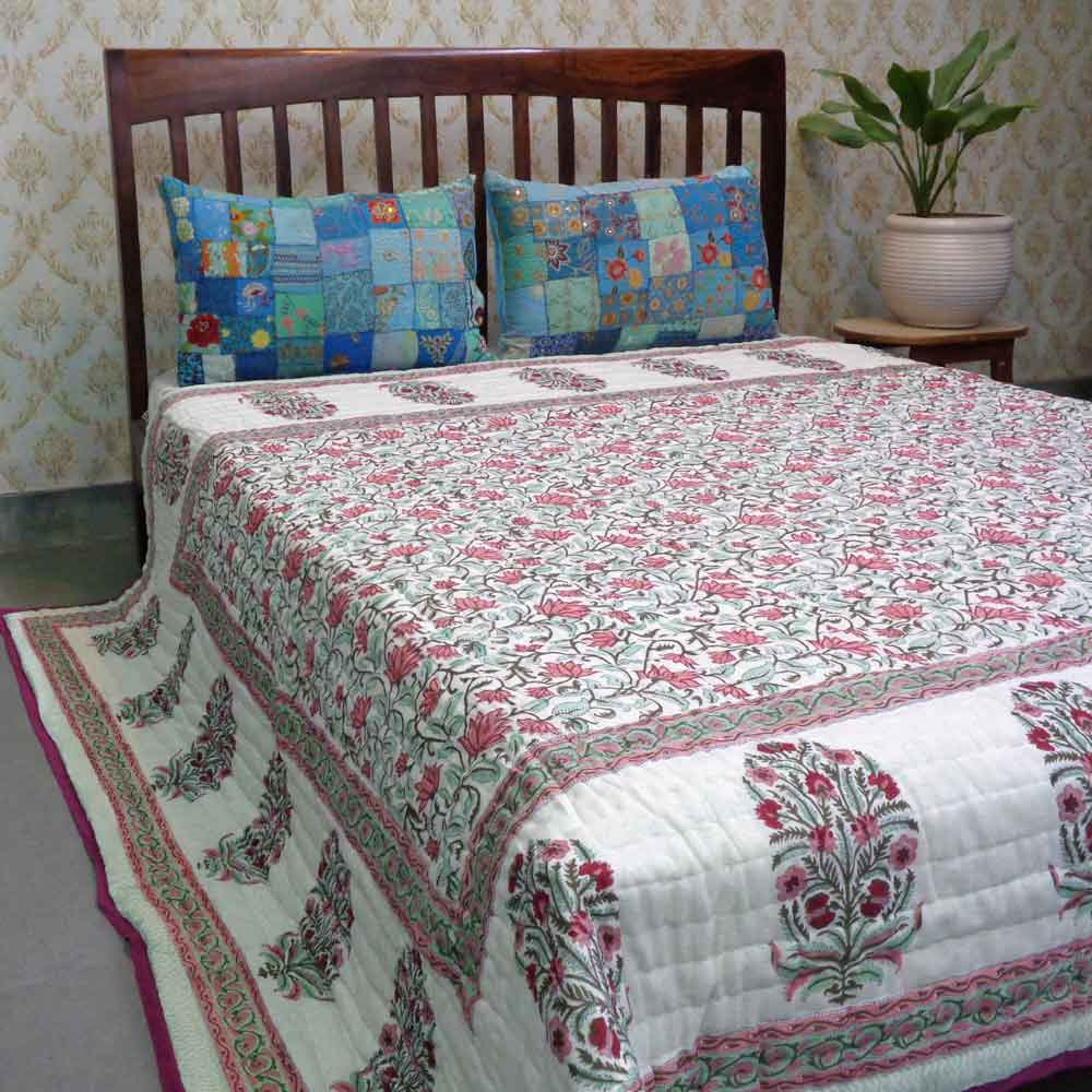 Hand Block Printed Cotton Queen Size Quilt | Cornflower Pink Open 101647