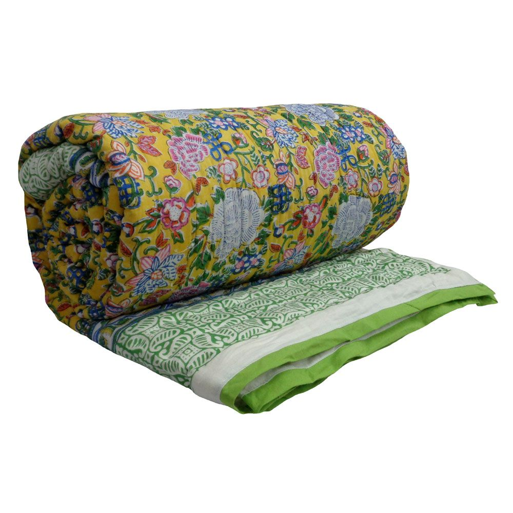 Hand Block Printed Cotton Queen Quilt | Floral Canvas Limeade 1638