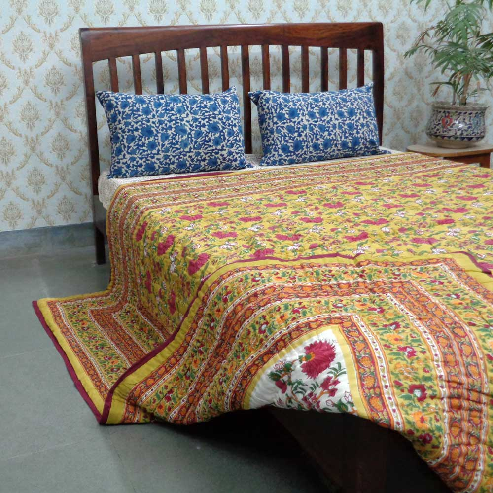 Queen Size Soft Cotton Quilt Handmade | Flower Blossom Canary 102799