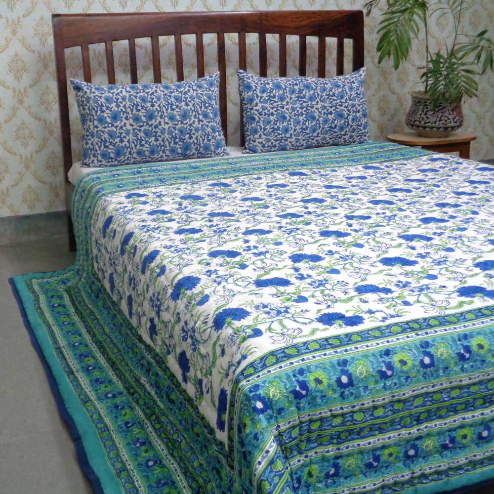 Handmade Block Printed Cotton Queen Quilt | Flower Blossom Sea Green 3123