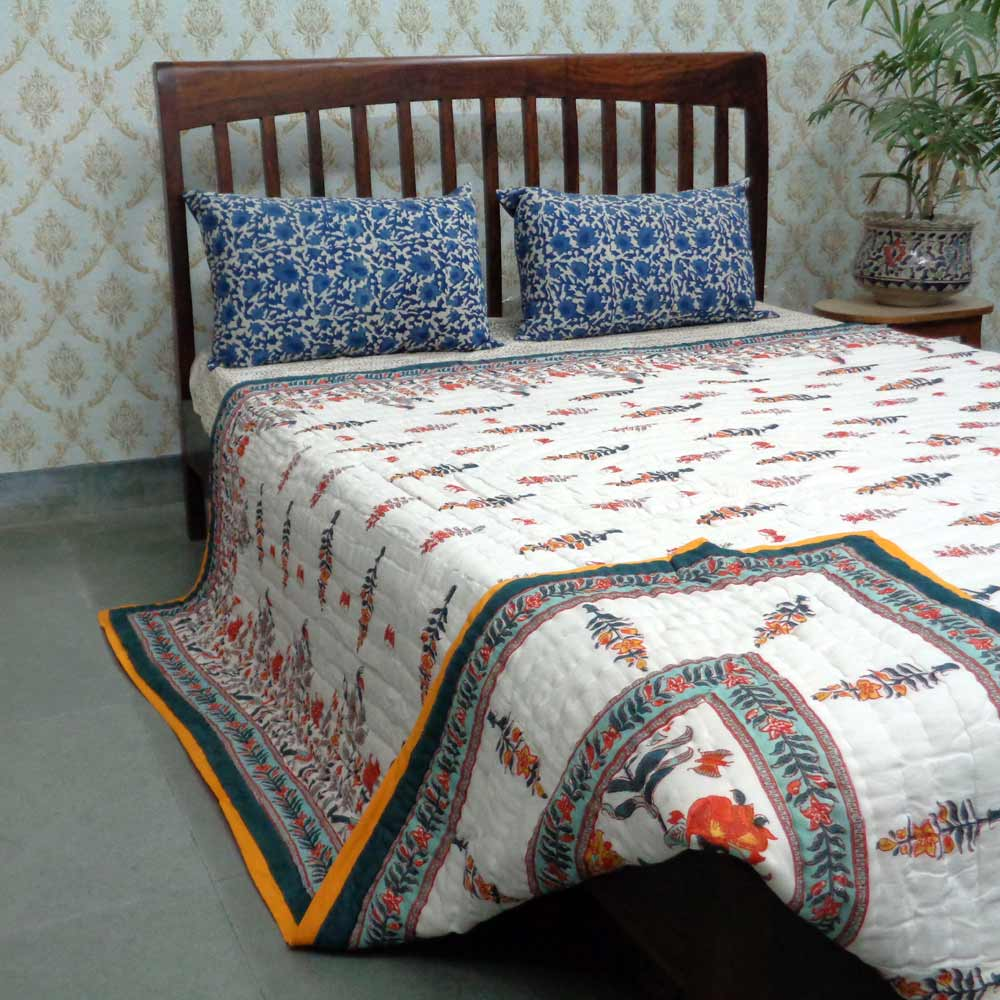 Hand Block Printed Cotton Queen Size Quilt | Ghani Booti 1631