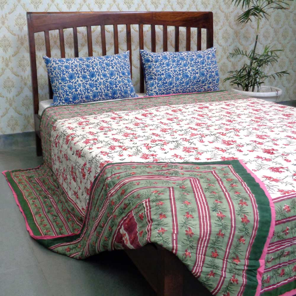 Hand Block Printed Cotton Queen Size Quilt | Lal Bel Trellis 106830