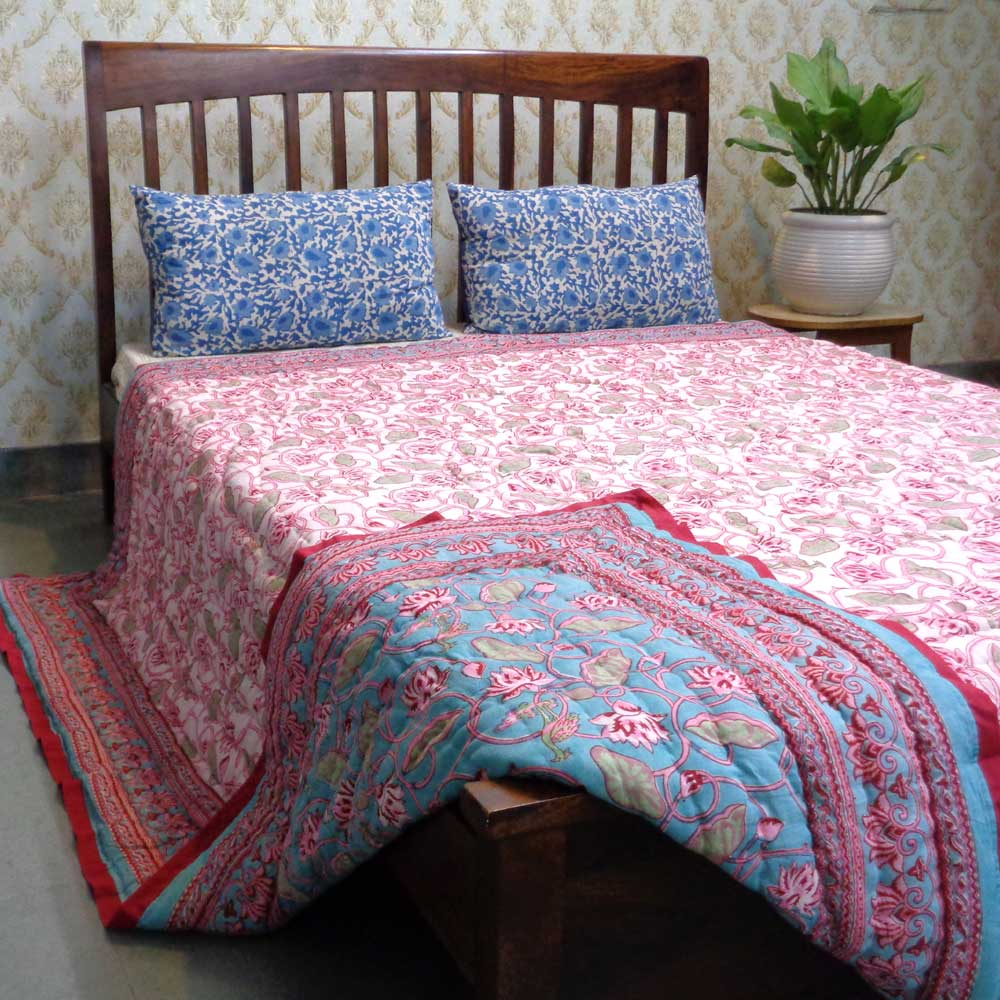 Hand Block Printed Cotton Queen Size Quilt | Lotus Lake Jade 102796