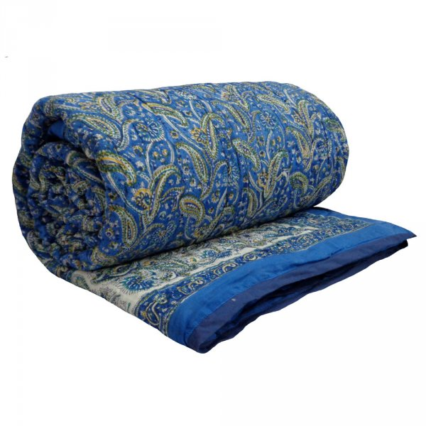 PAISLEY DELIGHT BLUE 3048 Quilt Queen size Hand Block Printed by Roopantaran