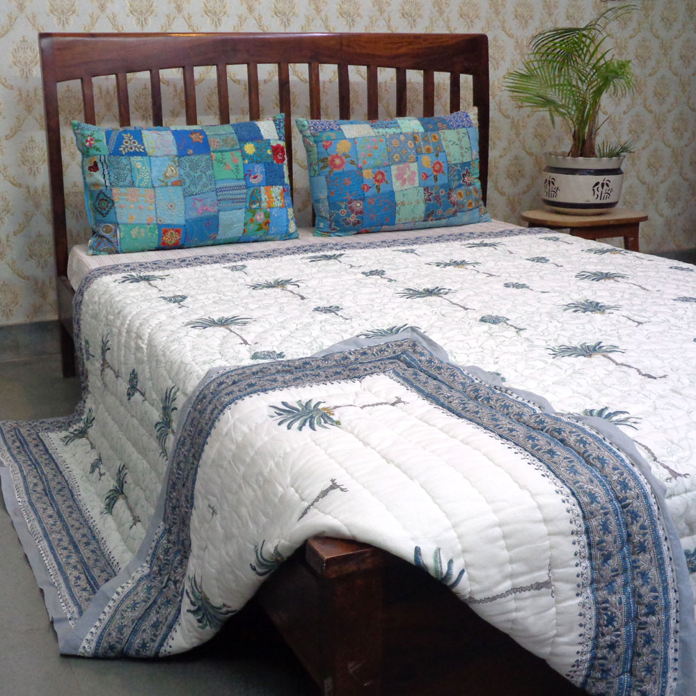 Hand Block Printed Cotton Queen Size Quilt | Palm Tree Blue 203606
