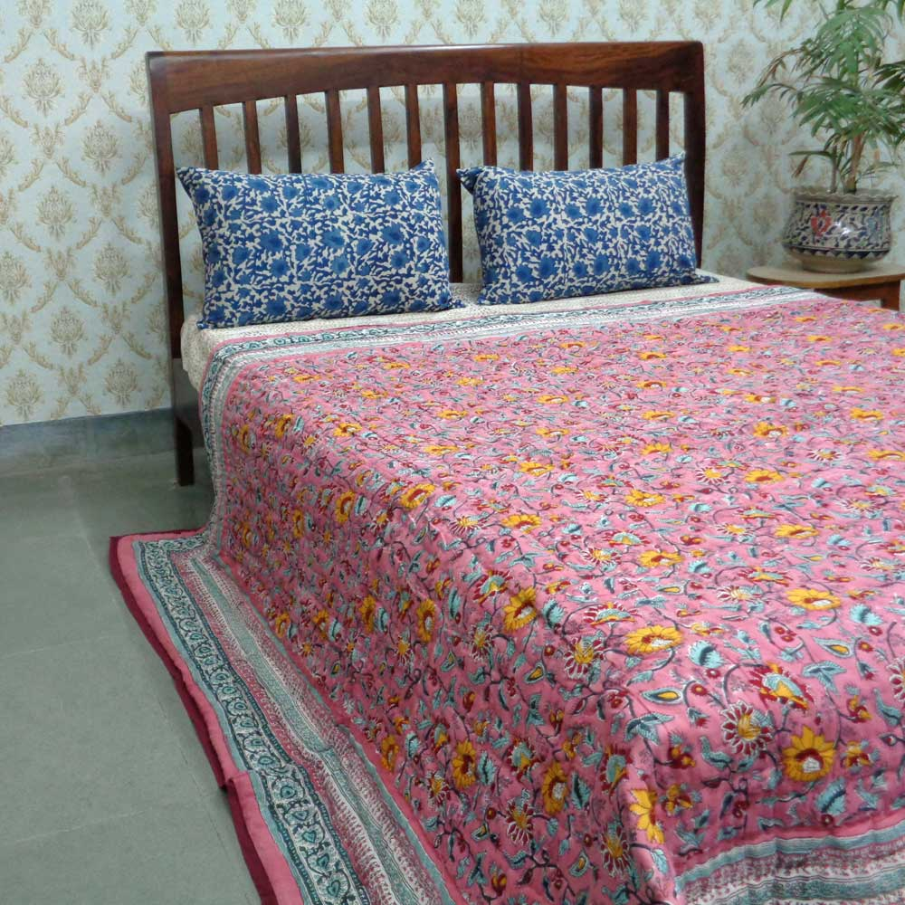 Phuljhari Pink  Hand Block Printed Queen Size Quilt 1365