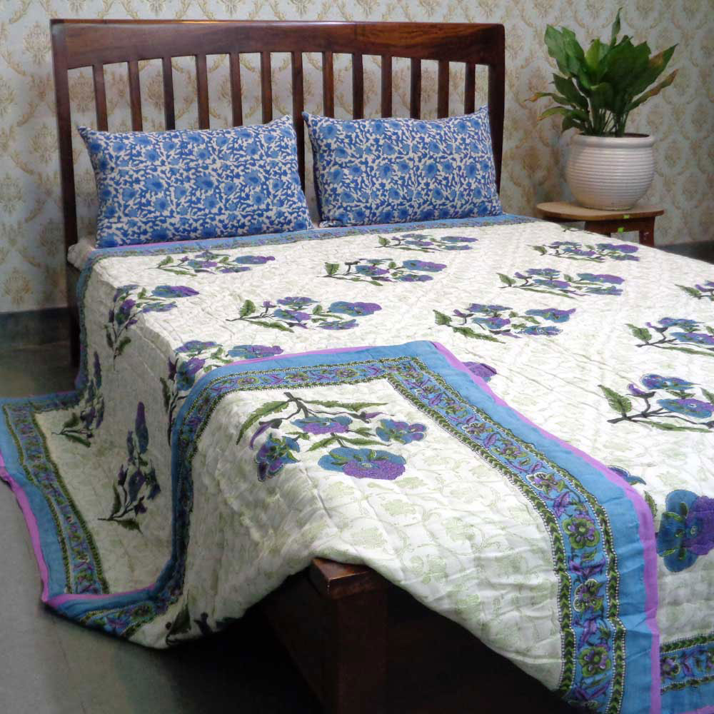 Hand Block Printed Cotton Queen Size Quilt | Purple Boota 101098