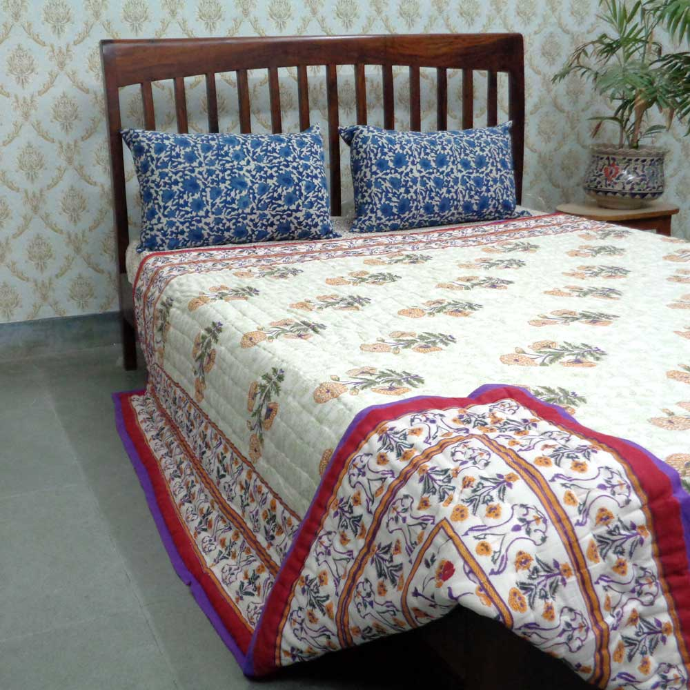 Hand Block Printed Cotton Queen Quilt | Rangila Phool 0595