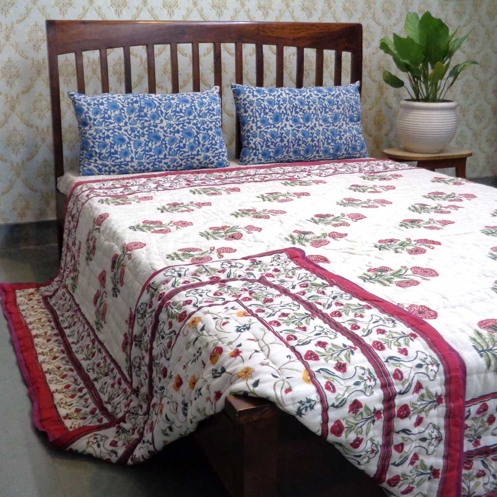 Hand Block Printed Cotton Queen Size Quilt | Rangila Phool Green 102357
