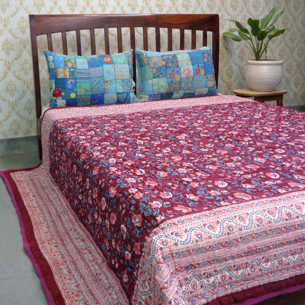 Hand Block Printed Cotton Queen Size Quilt | Rukhsana Maroon 101639