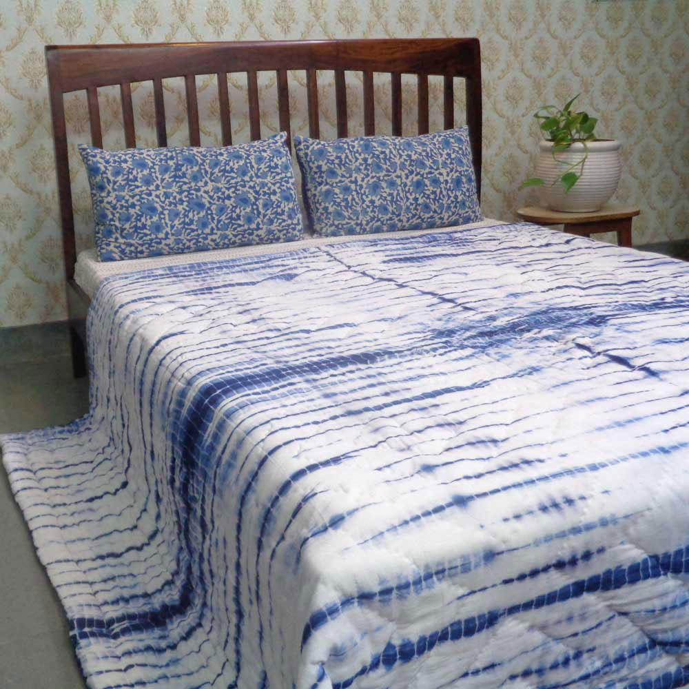 Hand-Dyed Shibori Style Cotton Quilt Queen Size | Chokor Blue 109818